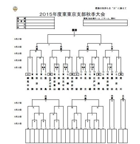 【2015年度 東東京支部秋季大会】組合せ決定!
